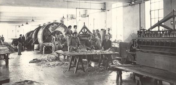 Traditional trimming of the hides in the early 1900's