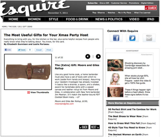 <a target='_blank' href='http://www.esquire.com/the-side/gifts/holiday-entertaining-gifts-13#fbIndex7'>Esquire Online – October 2011</a>
