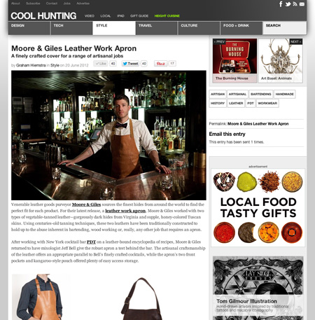 <a target='_blank' href='http://www.coolhunting.com/style/moore-and-giles-leather-work-apron.php'>Cool Hunting – June 2012</a>