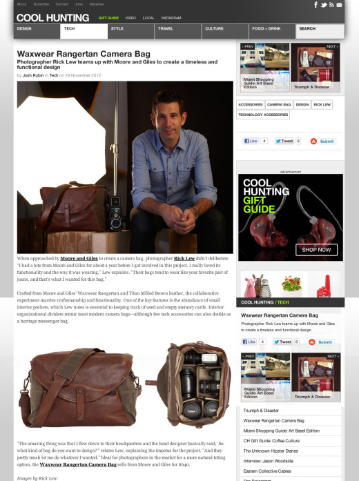 <a target='_blank' href='http://www.coolhunting.com/tech/waxwear-rangertan-camera-bag.php'>Cool Hunting – November 2012</a>