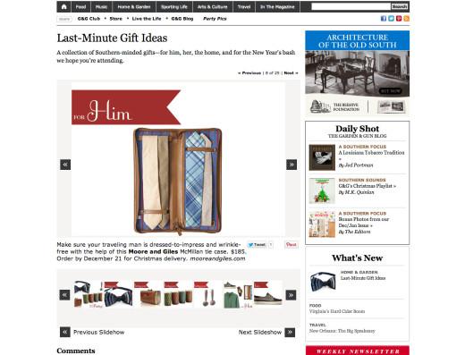 <a target='_blank' href='http://gardenandgun.com/gallery/holiday-gift-ideas-2012'>Garden & Gun Online Gift Guide – December 2012</a>