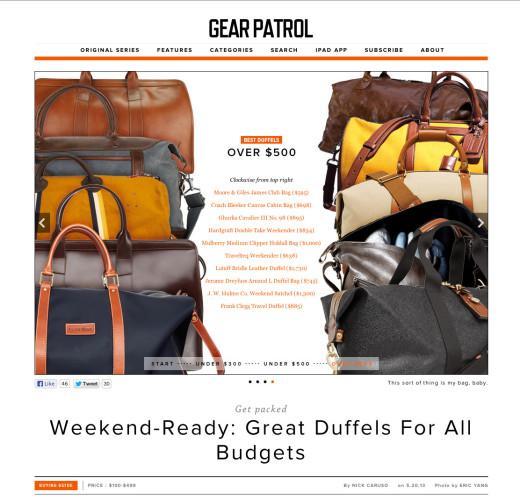 <a target='_blank' href='http://gearpatrol.com/2013/05/20/best-duffel-bags/'>Gear Patrol – May 20, 2013</a>