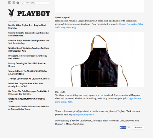 <a target='_blank' href='http://playboysfw.kinja.com/the-best-christmas-gifts-for-men-1470052907'>Playboy – December 2013</a>