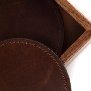 Leather Coasters with Walnut Box