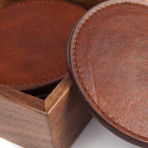 Leather Coasters with Walnut Box