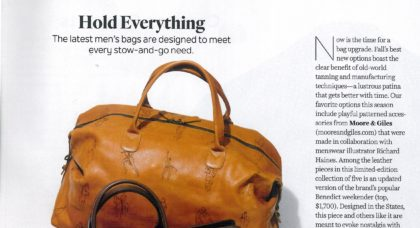 Moore and Giles in the October issue of Robb Report - Leather Bags