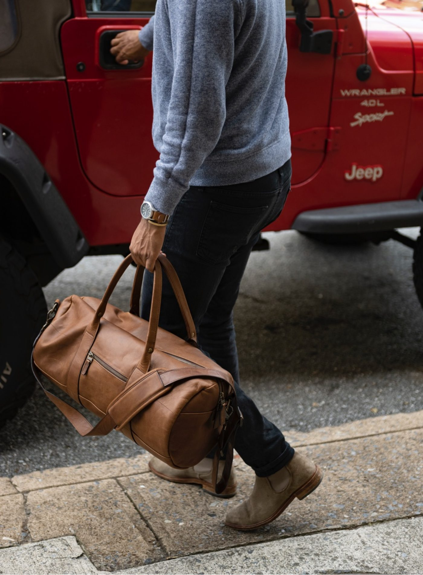 Reclaimed Leather Duffel Bag