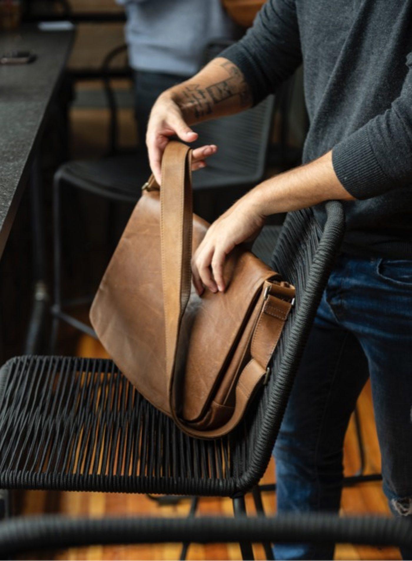 Reclaimed Leather Messenger Bag