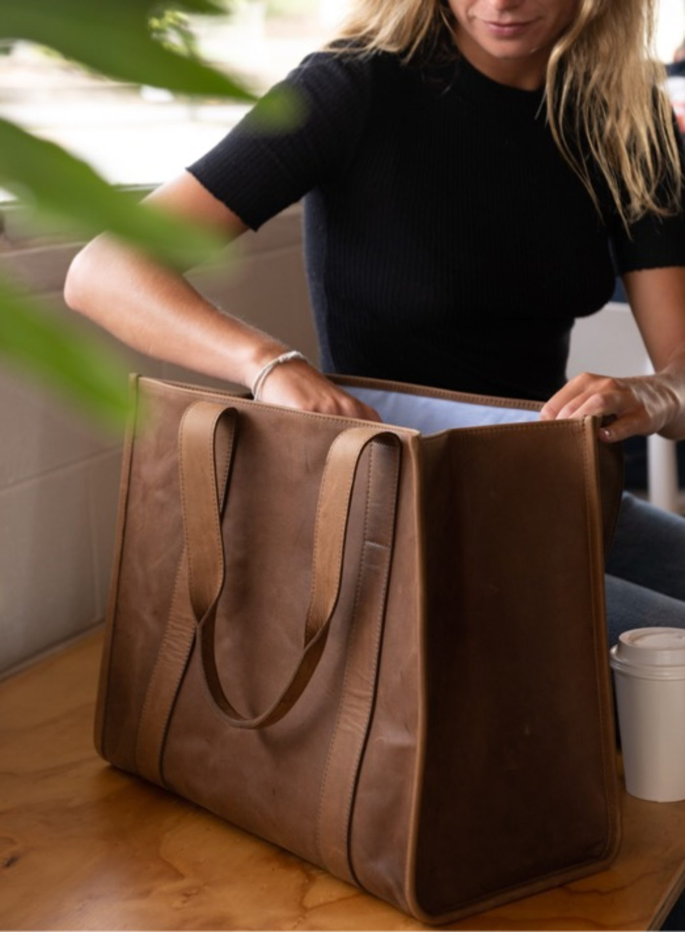Reclaimed Leather Tote