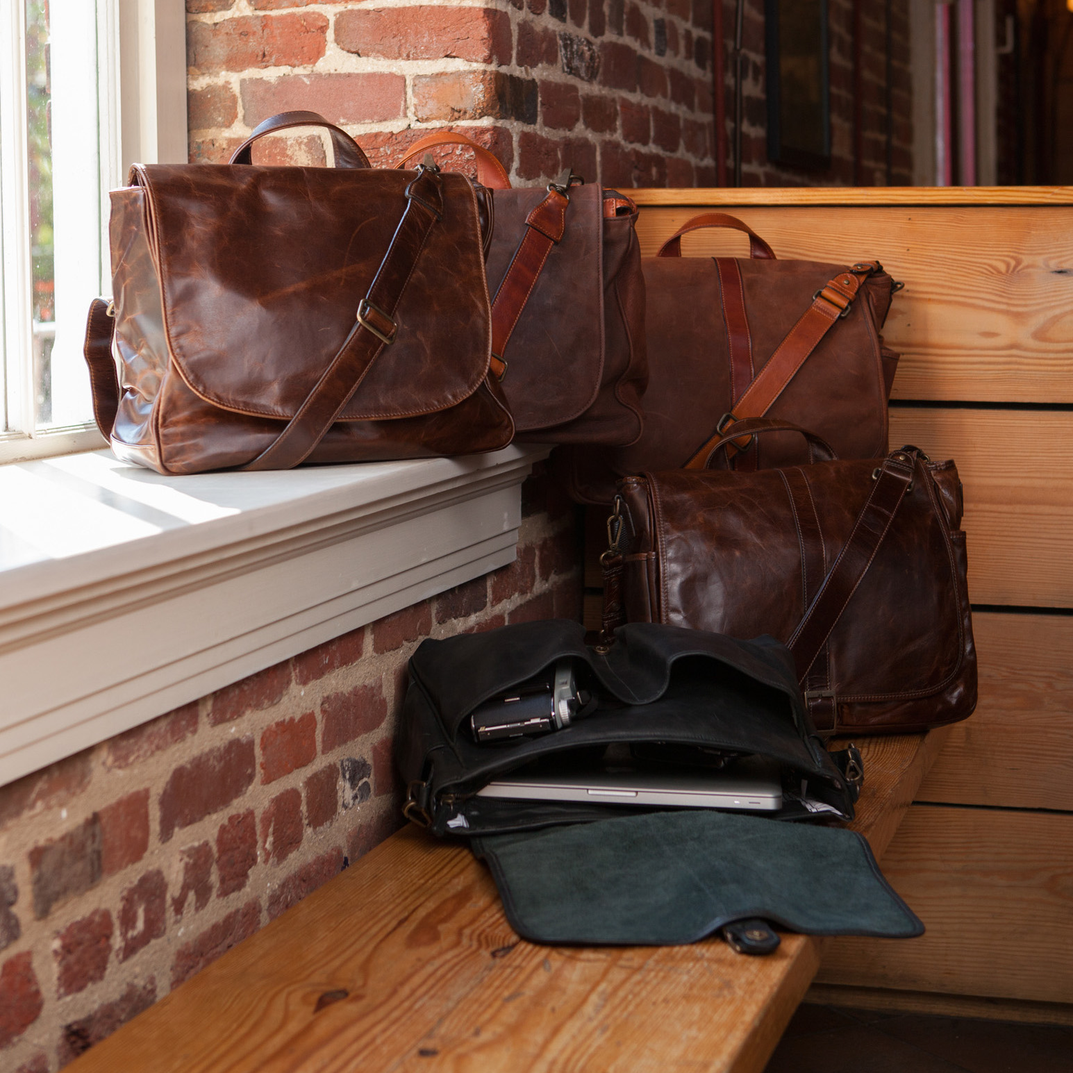 Moore giles leather mail bag in brompton brown for Moore and giles furniture