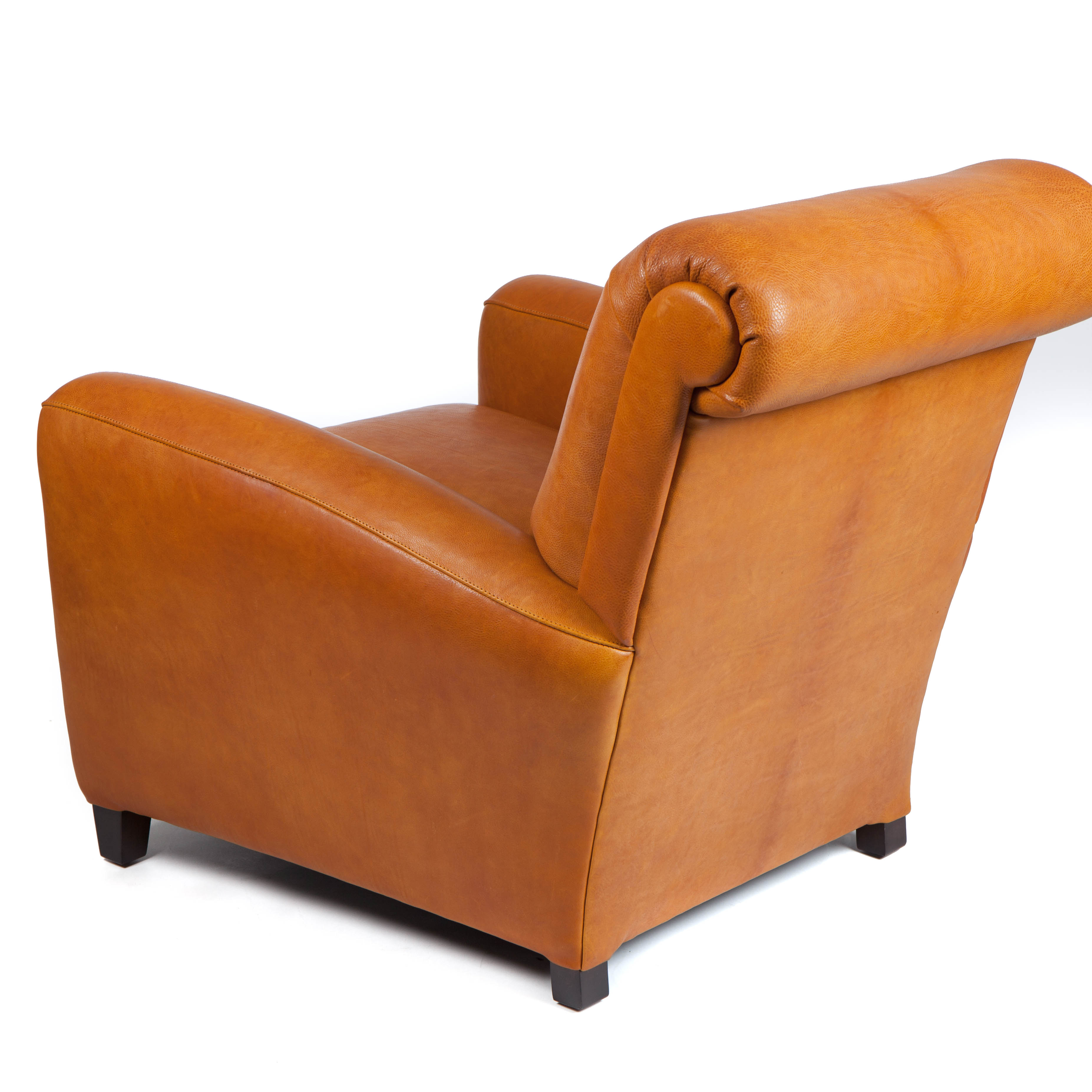 Moore & Giles Traynham Club Chair Leather No 7 in Modern Saddle