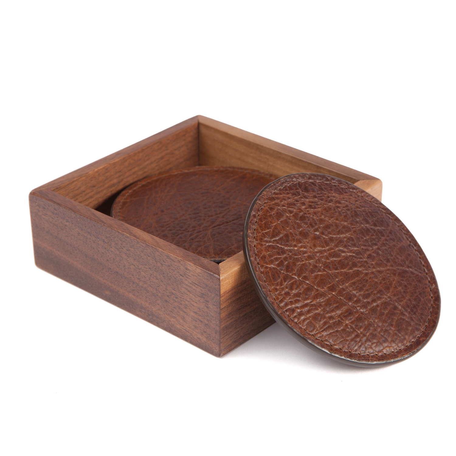 Moore giles leather coasters with walnut box for Moore and giles furniture