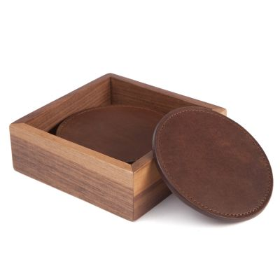 Leather Coasters - Baldwin Oak
