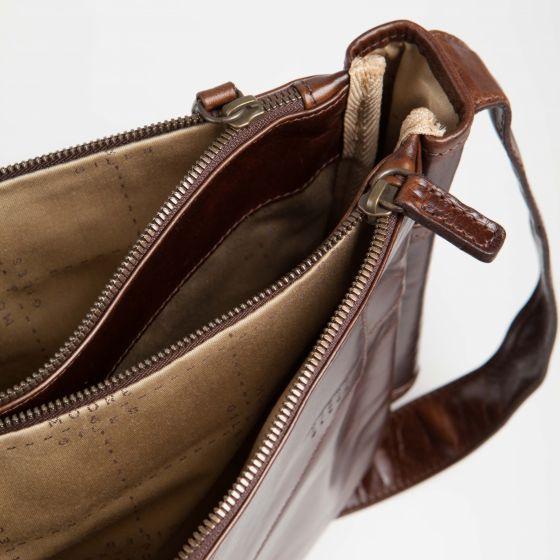 Sackett Leather Messenger Bag in Brompton Brown - Interior