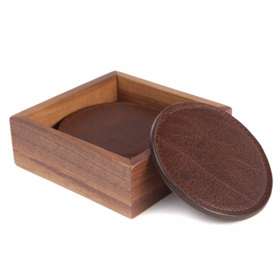 Leather Coasters - Titan Milled Brown