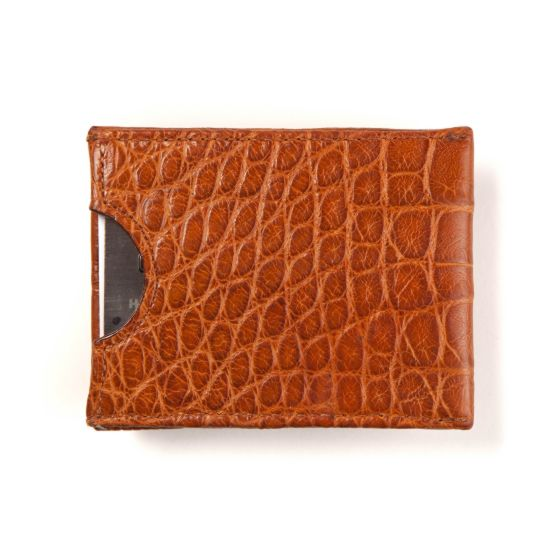 Money Clip Wallet - Tan Alligator