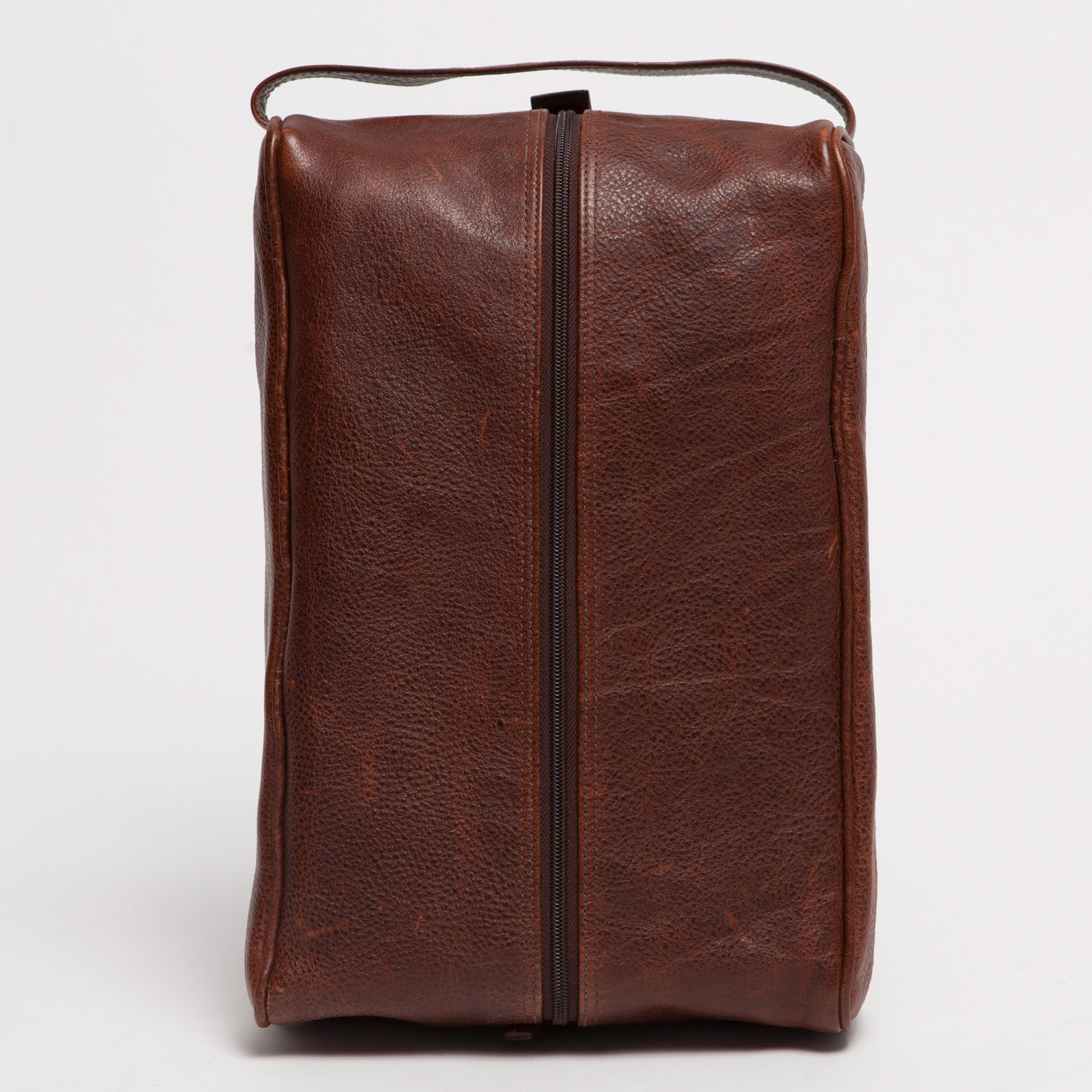 giles stephon leather shoe bag in titan milled brown